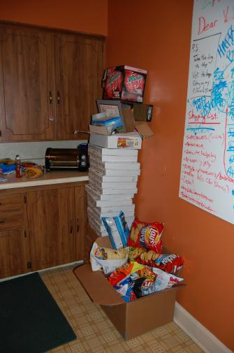 pizza boxes and chips
